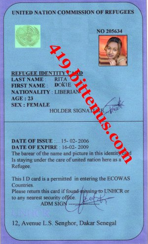 Refugee ID card