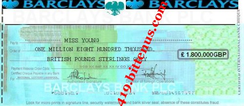 Certified international bulk cheque