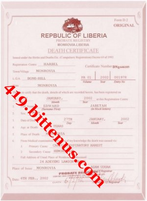 My father death certificate