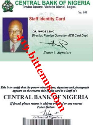 Central bank of nigeria tunde lemo id card publicscrutiny Image collections
