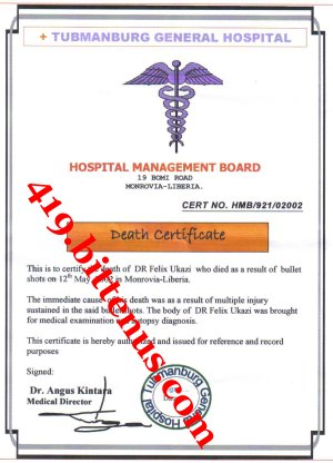 My Late Father Deatth certificate