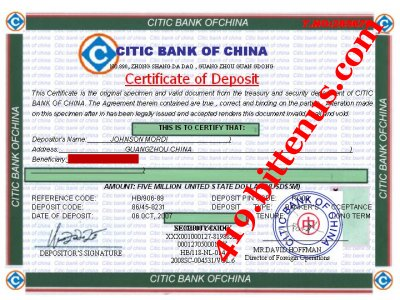 Certificates of deposit china bank of china eighteen million six hundred thousand usd deposite certificate of 5m yadclub Choice Image