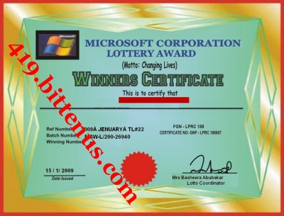 Microsoft Lottery Winning Certificates 419 fraud – Winner Certificates