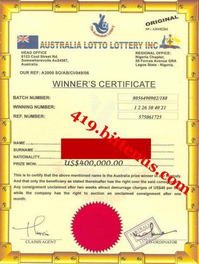 Australia Lottery Winning Certificates (419 fraud)