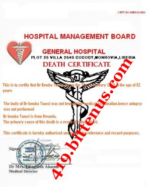 death of certificate