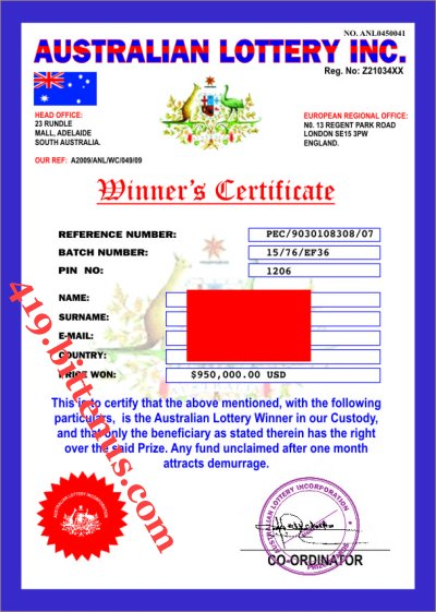 AUSTRALIA LOTTO WINNERS CERTIFICATE