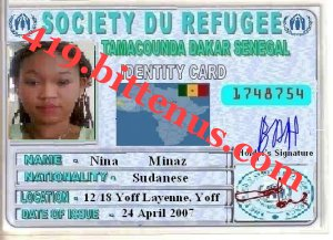 My refugees Identity Card