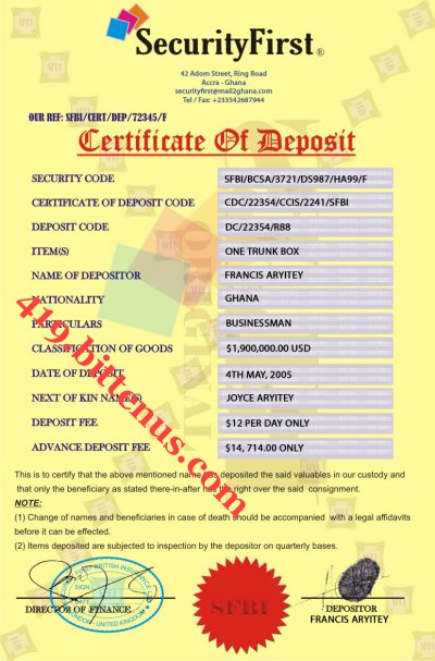 CERT OF DEPOSIT TO MY CLIENT