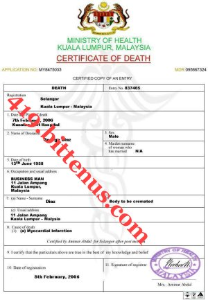 Certificate of death template etamemibawa certificate of death template yadclub Images