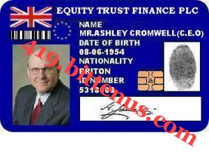 IDENTIFICATION CARDOF MR.ASHLEY CROMWELL
