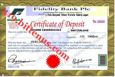 MY CERTIFICATE OF DEPOSIT