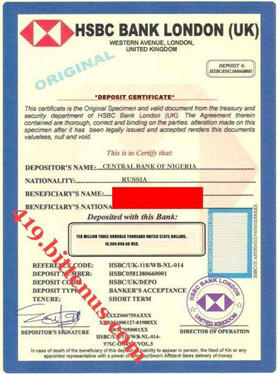 Certificates Of Deposit Uk