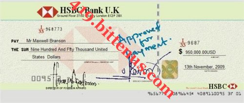 HSBC APPROVED CHEQUE TO MR MAXWELL BRANSON 1