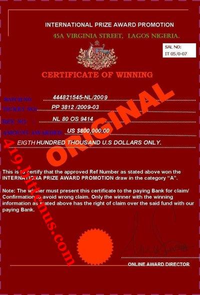 419 bittenus com  lottery winning certificates