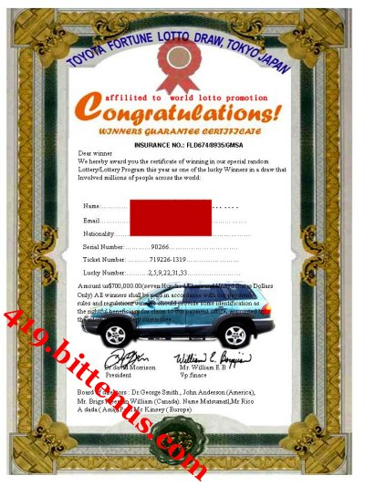 AWARD CAR CERTIFICATE