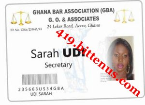 Barrister Secretary Identity card