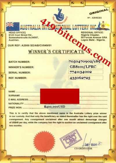Lottery Winners Certificatel