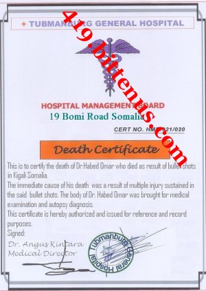 Death certificate of Dr