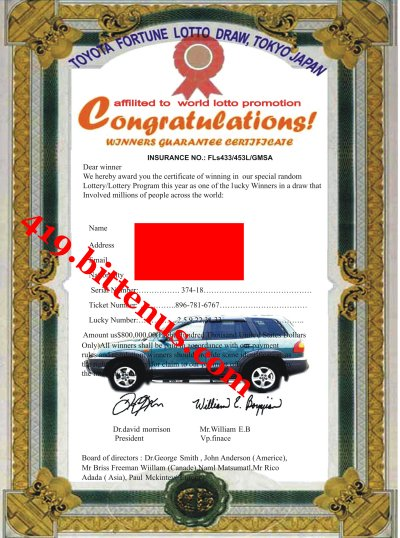 the bmw company promotion prize award warning Congratulation you are a winner prize award members of staff and the international awareness promotion department of the bmw automobile company.