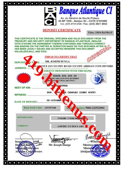 DEPOSIT CERTIFICATE DOCUMENT