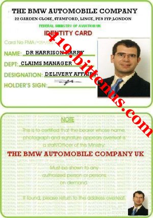 Dr_harrison_harry_bmw_claims_manager_identity_card_uk