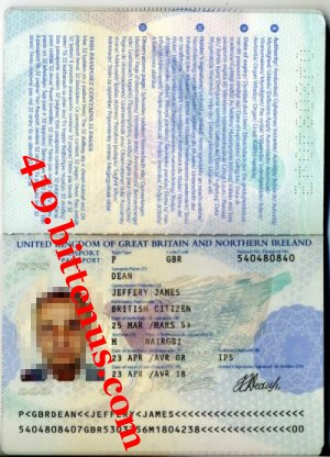 JEFFERY JAMES DEAN PASSPORT