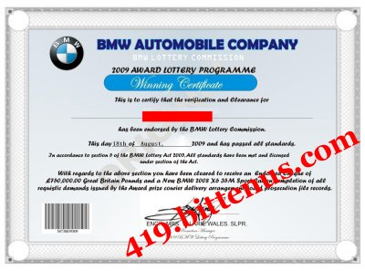 Bmw Lottery Winning Certificates 419 Fraud