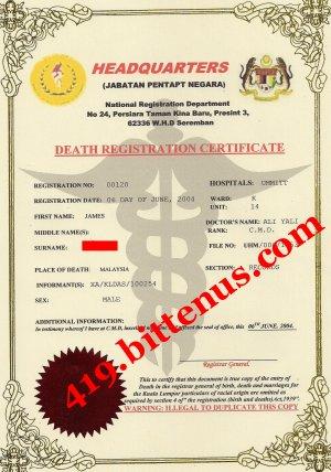 Death Certificates - Malaysia