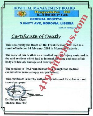 Death Sertificate of the young girl late father,Dr frank Benson