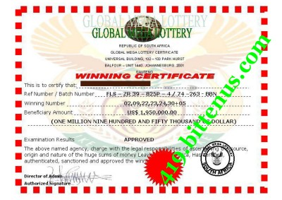 Global MEGA LOTTERY Winning Certificates (419 fraud)
