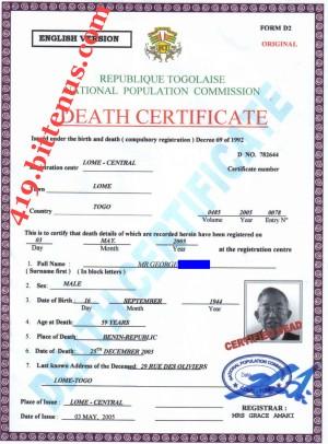Death certificates togo certificatedeath death cert yelopaper Choice Image