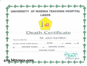 Death certificates nigeria death certificate university of nigeria teaching hospital lagos mr jack hamilton from the pascal ibe story yadclub Gallery