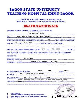 Death certificates nigeria death certificate yadclub Gallery