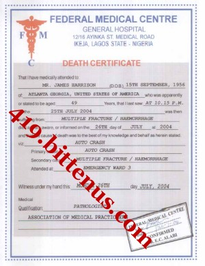 DEATH CERTIFICATE OF LATE MR. JAMES HARRISON