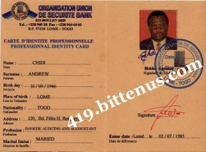 Professionnal Identity Card of Andrew Chidi