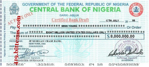 Central Bank of Nigeria, $8,000,000