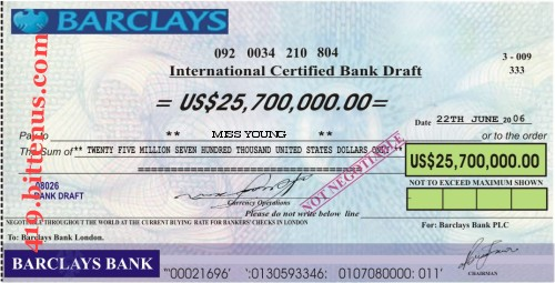 Barclays Bank PLC, US$25,700,000
