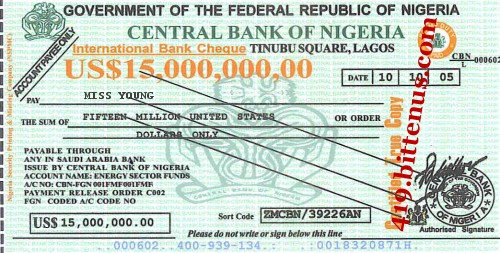 Central Bank of Nigeria, $15,000,000