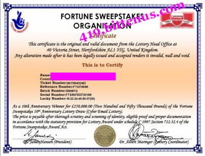 International Lottery Sweepstakes Association