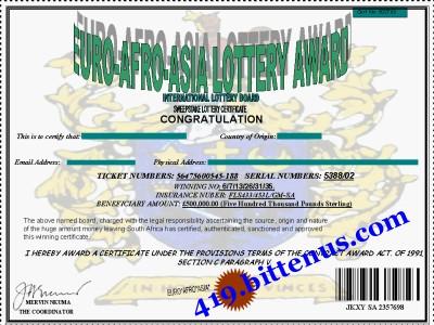 sweepstake award lottery asian afro Euro