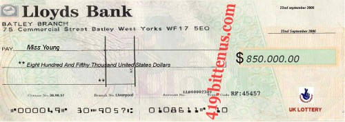 Lloyds Bank, $850,000 - 22nd September 2006