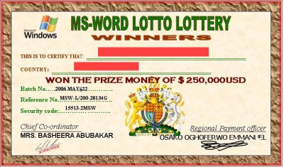 Microsoft Lottery Winning Certificates (419 fraud)