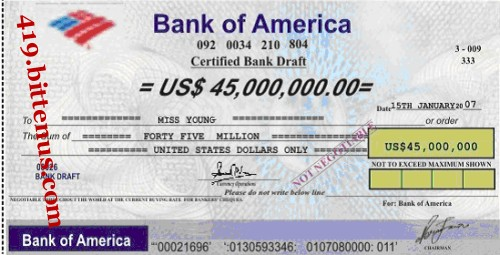 Bank of America, US$45,000,000