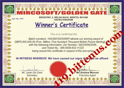 lotterywinning Jun 2011 – Winner Certificates