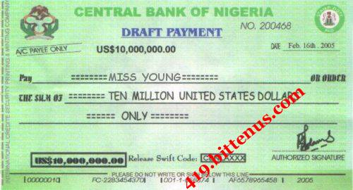 Central Bank of Nigeria, US$10,000,000