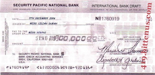 Security Pacific National Bank, $300,000