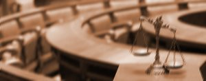 Justice scales in a courtroom (Thinkstock)