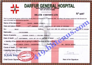 Death cert. of my father