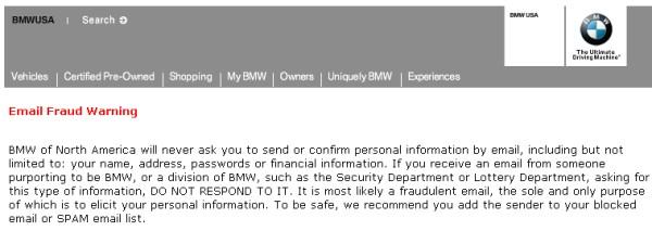 BMW Lottery Winning Certificates (419 fraud)